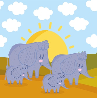 Kreskówka stado słoni