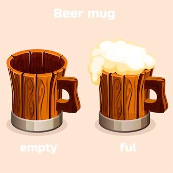 Kreskówka stary drewniany kufel do piwa