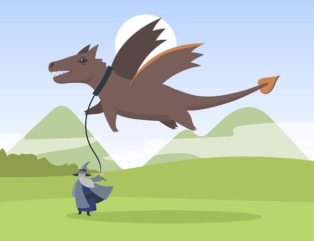 Kreskówka stary elf i latający smok płaska ilustracja. mały brodaty mędrzec trzymający olbrzymiego smoka lecącego nad nim na smyczy