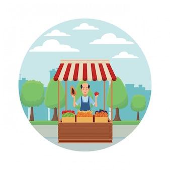 Kreskówka stary sklep spożywczy