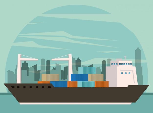 Kreskówka statek towarowy transport towarów