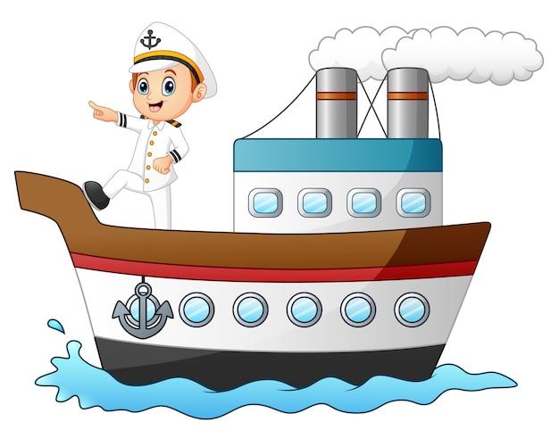 Kreskówka statku kapitan wskazuje na statku