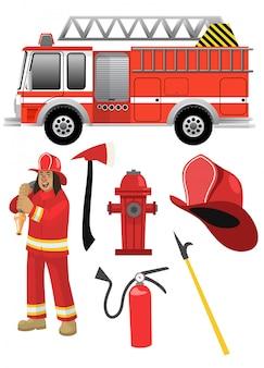 Kreskówka strażak z wyposażeniem