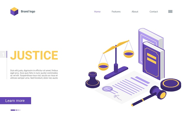 Kreskówka strona docelowa koncepcja 3d z elementami sali sądowej