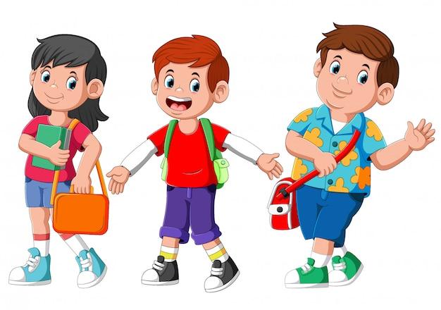 Kreskówka studentów dzieci przyjaciele