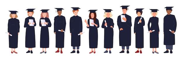 Kreskówka studentów ukończenia szkoły. grupowy mężczyzna, kobieta, wielorasowi ludzie w akademickim kapeluszu, sukni, dyplomie w ręku