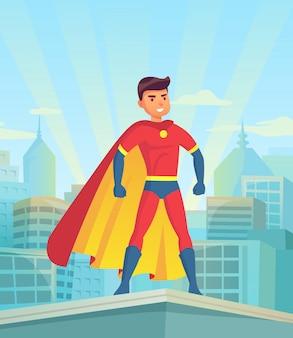 Kreskówka superbohatera oglądania miasta