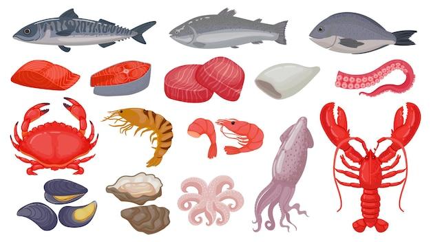 Kreskówka surowe owoce morza, ryby, świeży łosoś, homar i kalmary. krewetka oceaniczna, stek z tuńczyka, skorupiaki i macka ośmiornicy. zestaw wektorów morskich żywności. produkty do sklepu lub restauracji, zdrowy posiłek
