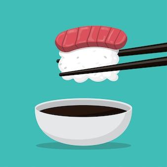 Kreskówka sushi i jedzenie japonia na białym tle