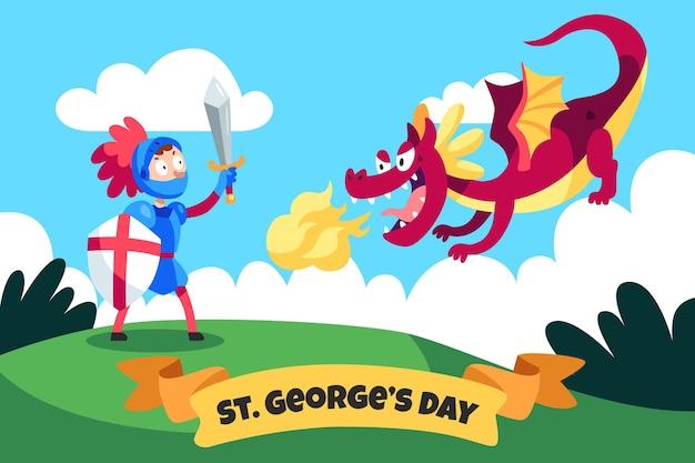 Kreskówka św. ilustracja dzień jerzego ze smokiem i rycerzem