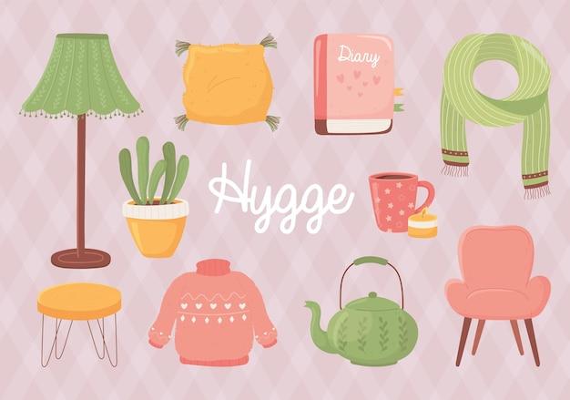 Kreskówka sweter hygge krzesło kubek czajniczek roślina poduszka i ilustracja w stylu książki