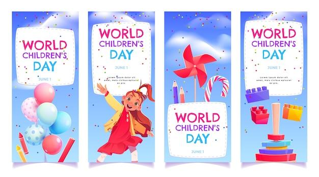 Kreskówka światowy Dzień Dziecka Zestaw Banerów Darmowych Wektorów