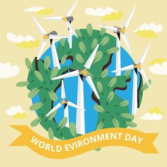 Kreskówka światowy dzień ochrony środowiska, aby zapisać ilustrację planety