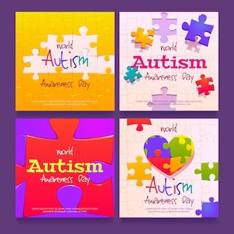 Kreskówka światowy dzień świadomości autyzmu na instagramie kolekcja postów