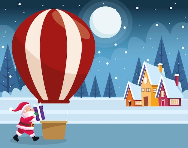 Kreskówka święty mikołaj i gorące powietrze balon nad domami i zimy nocą kolorowymi, ilustracja