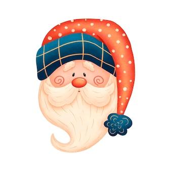 Kreskówka święty mikołaj w czerwonym kapeluszu