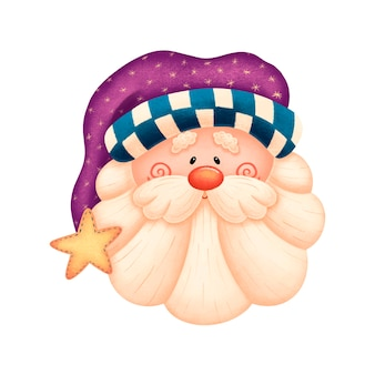 Kreskówka święty mikołaj w fioletowym kapeluszu