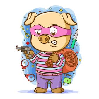 Kreskówka świni-złodzieja używa różowej maski trzymającej broń i przynosi worek pieniędzy