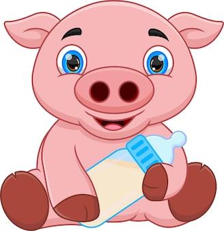 Kreskówka świnia dla dzieci pozuje siedząc na białym tle