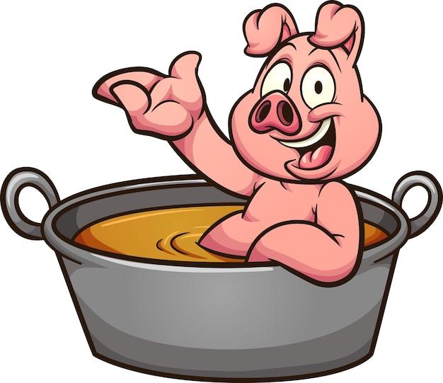 Kreskówka świnia kąpiąca się w dużej zapiekance