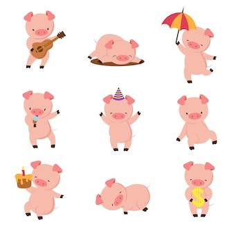 Kreskówka świnia śliczne uśmiechnięte świnie bawić się w błocie. wektor zestaw znaków zwierząt gospodarskich