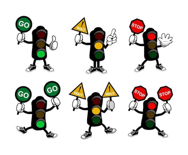 Kreskówka sygnalizacja świetlna trzyma symbol