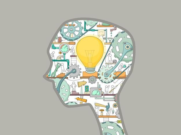 Kreskówka sylwetka głowy mężczyzny z ludźmi pracy i narzędziami. koncepcja biznesowa tworzenia pomysłu.