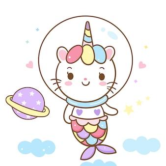 Kreskówka syrenka wektor ładny kot jednorożec na niebie