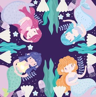 Kreskówka syreny pod wodą z ilustracją wodorostów i muszelek