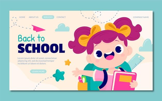 Kreskówka szablon strony docelowej z powrotem do szkoły