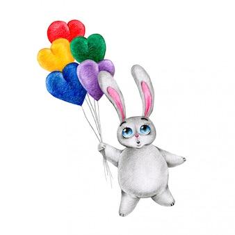 Kreskówka szary królik latający w balony na białym tle