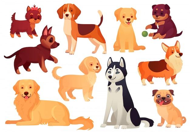Kreskówka szczeniak i pies. szczęśliwe szczenięta z uśmiechniętym pyskiem, lojalnymi psami i przyjaznym psem na białym tle zestaw