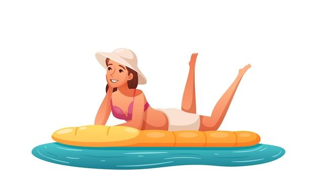 Kreskówka szczęśliwa kobieta relaksuje się na łóżku powietrznym