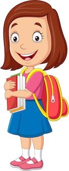 Kreskówka szczęśliwa uczennica niosąca książkę i plecak