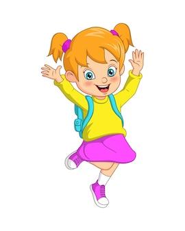 Kreskówka szczęśliwa uczennica z plecakiem