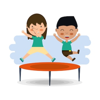 Kreskówka szczęśliwe dzieci skoki na ikonie trampolina