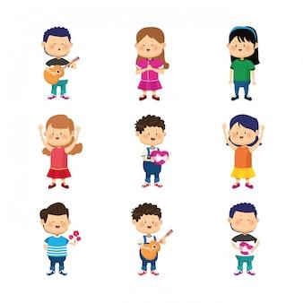 Kreskówka szczęśliwe dzieci uśmiechnięty zestaw ikon