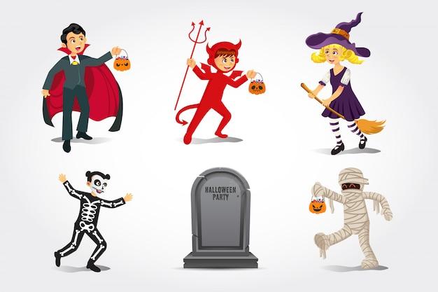Kreskówka szczęśliwe dzieci w kostium na halloween ze starym nagrobkiem na białym tle