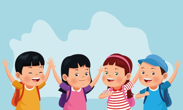 Kreskówka szczęśliwe dzieci ze szkolnymi plecakami