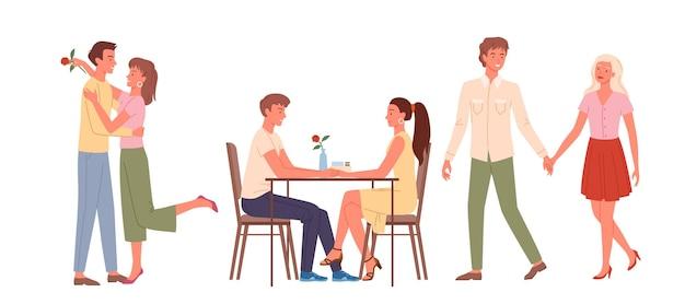 Kreskówka szczęśliwe kochające pary mężczyzn, kobiet, postaci, siedząc przy stole w kawiarni razem i trzymając się za ręce, romantyczne randki i sceny miłosne na białym tle zestaw. kilka osób spotyka się na ilustracji wektorowych daty.