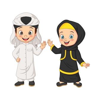 Kreskówka szczęśliwe muzułmańskie dzieci arabskie