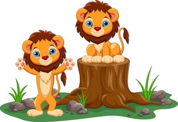 Kreskówka szczęśliwego lwa dziecka
