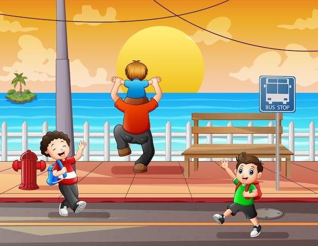 Kreskówka szczęśliwi ludzie na ilustracji ulicy