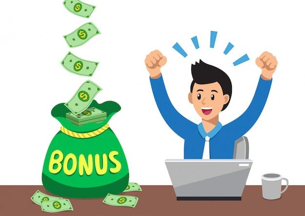 Kreskówka szczęśliwy biznesmen z dużą torbę pieniędzy premii