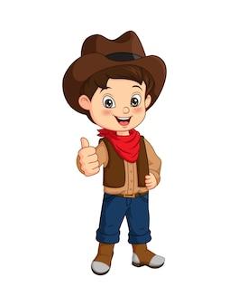 Kreskówka szczęśliwy chłopiec kowboj daje kciuki do góry