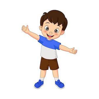 Kreskówka szczęśliwy chłopiec macha ręką na białym tle