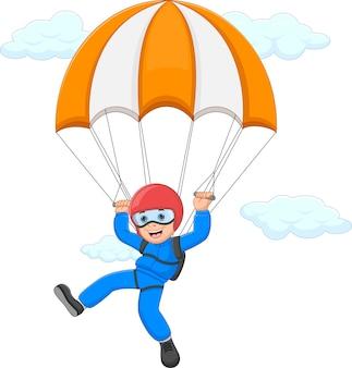 Kreskówka szczęśliwy chłopiec skoki spadochronowe na białym tle