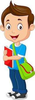 Kreskówka szczęśliwy chłopiec z książką i plecakiem