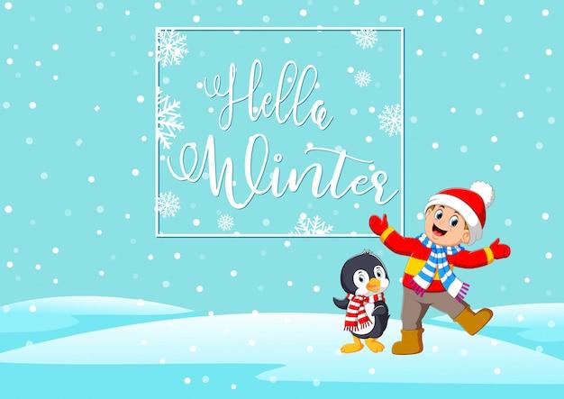 Kreskówka szczęśliwy dzieci i pingwina, ciesząc się zimą