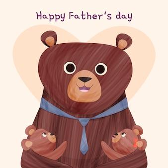 Kreskówka szczęśliwy dzień ojca ilustracja z niedźwiedziem